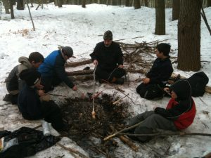 making fire on snow wilderness skills