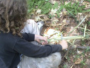 Using knife safely while stripping bark for bow