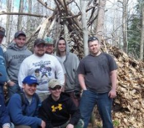 bachelor party shelter building wilderness skills