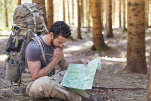 Lost hiker needs wilderness survival shelter